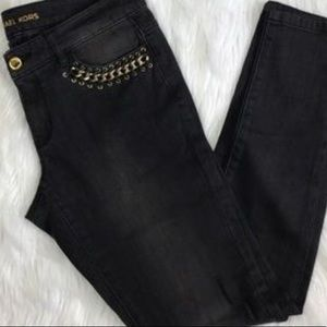 Michael Kors skinny denim with chain and leather